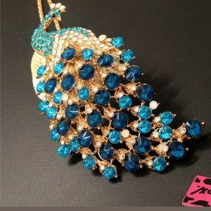 New Betesy Johnson blue peacock necklace